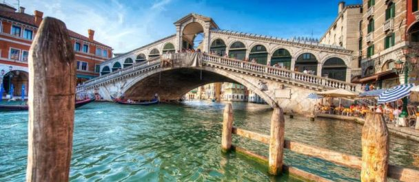 The famous Rialto Bridge Venice
